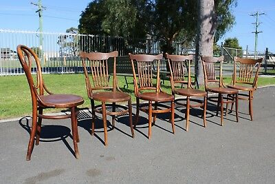 6 X Antique Bentwood Chairs Dining Pressed Timber Spindle Back Vintage