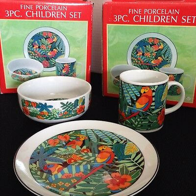 3 Piece Baby Children Fine Porcelain China Dinnerware Plate Set Cup Bowl NEW