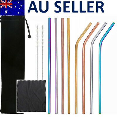 8PCS Reusable Stainless Steel 4 Color Straws Drinking Straw + Brush + Bag Cloth