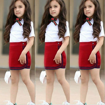 Kids Baby Girl Toddler Summer Top T-shirt Vest+Skirt Fashion Clothes Outfits Set