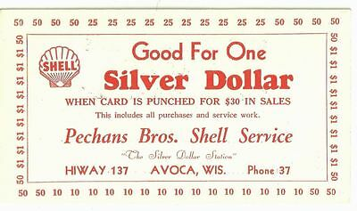 Vintage SHELL GAS STATION Good For One SILVER DOLLAR Pechans Bros AVOCA WI PH 37