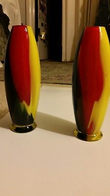 Vases Retro Style A Pair Of Magnificent Color Hand Blown Could Be Menaro Italy