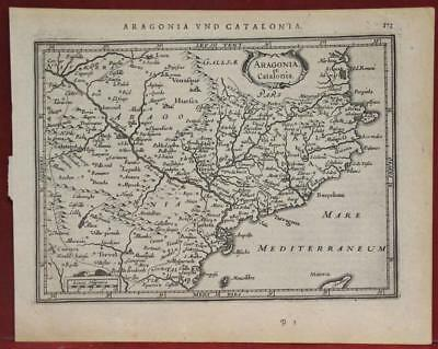 Aragon & Catalonia Spain 1640 Mercator/hondius Unusual Antique Engraved Map
