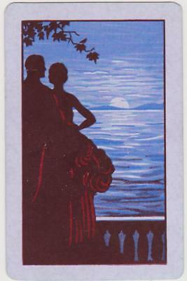 Swap/Playing Card ~ SILHOUETTE OF COUPLE IN MOONLIGHT ~ Vintage Linen x 1