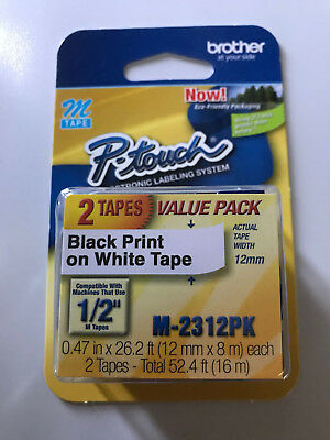 "Brother P-Touch M Tape 1/2"" M-2312PK - 2 Tape Value Pack"