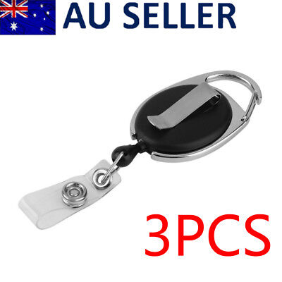 3x Safety Retractable Reel Pull Key ID Card Badge Tag Belt Clip Holder Carabiner