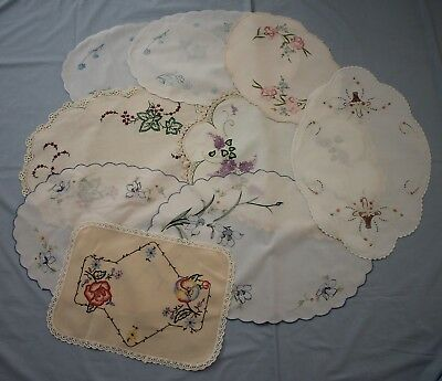 9 Large Vintage Embroidered Doilies