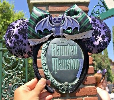 Disney Parks Haunted Mansion Gargoyle Bat Wallpaper Minnie Ears with Maid Bow