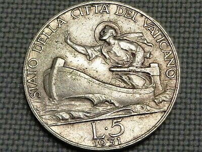 Vatican 1931 Silver 5 Lire Saint Peter on Boat Storm Sea of Galile Pope Pius XI