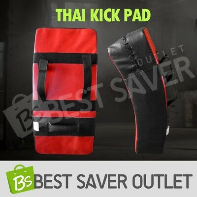 Thai Boxing Punch Focus Kick Pad Mitts Hit Strike Shield Curved Traing BK & Red