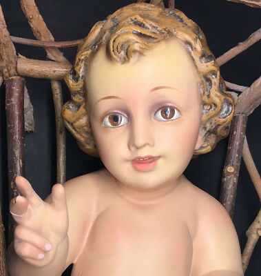 OLD Baby Jesus from Spain, Glass Eyes, Nativity, Hand Painted with wood manger!!