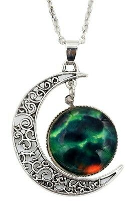Women Galactic Glass Cabochon Pendant Crescent Moon Necklace(Color numbers: R1M8