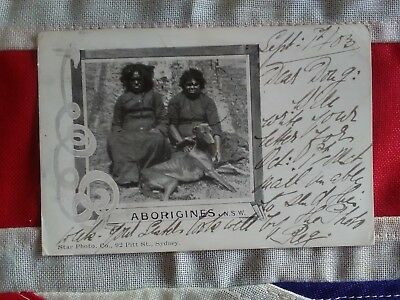 Vintage Aboriginal postcard dated 1903 send from Sydney to England
