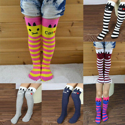 7 Colors Kids Girls Multi-Color Striped Cotton Long Socks Knee High Stockings US