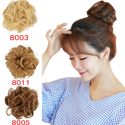 Curly Messy Bun Hair Piece Scrunchie Cover Hair Extensions Real as human