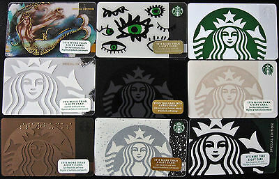 LOT OF 9 Starbucks New SIRENS Gift Cards EYES, MERMAID MOTION, GHOST, SPECIAL ED