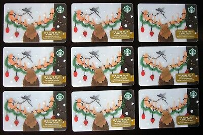 LOT OF 9 STARBUCKS 2017 Decorated HOLIDAY MOOSE BIG ANTLERS Gift Cards