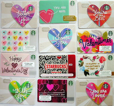 LOT 12 Starbucks 2018 HAPPY VALENTINES DAY Die Cuts + JONATHAN ADLER Gift Cards