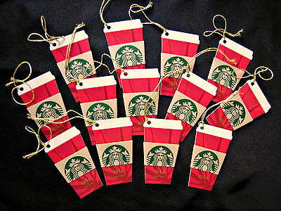 LOT 13 NEW STARBUCKS Gift Cards 2014 Die Cut RED CUP Ornament Holiday Key Chain