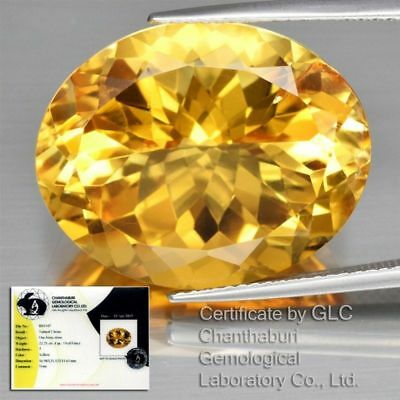 Certified 22.21Ct Natural Unheated Oval/fancy Cut Cittrine Stunning Yellow