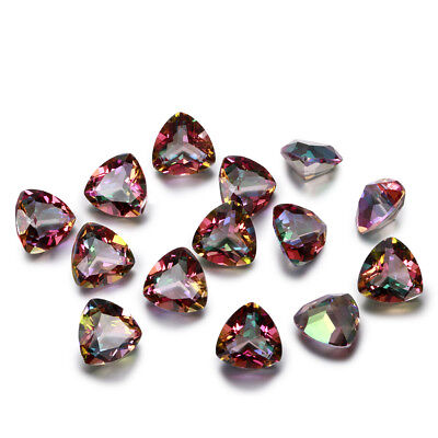 2 CT Natural 9 * 9 MM Mystic Rainbow Topaz Trillion Cut Loose Gemstone Wholesale