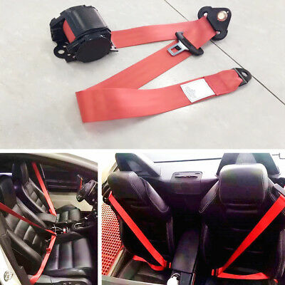 Retractable 3 Point Car Safety Seat Lap Belt Set Kit Universal Red nylon straps