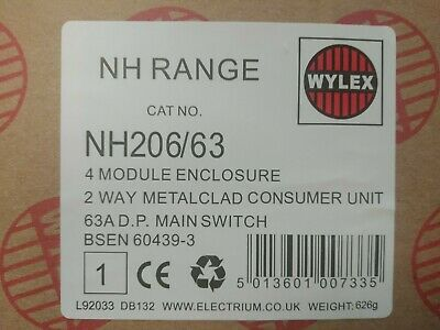 Wylex Nh206/63- 2 Way Metal Consumer Unit With 63Amp Main Switch & Plastic Cover