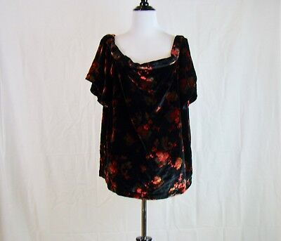 5a57e085c7f2b2 Ann Taylor Loft Women s Black Velvet Fall Floral Off Shoulder Top - NWT -  Size L