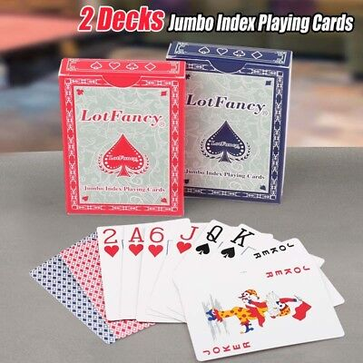 Jumbo Index Playing Cards 2 Decks of Poker Size for Blackjack Pinochle Euchre