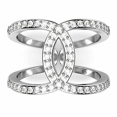 Infinity Women 925 Silver Jewelry Round Cut White Sapphire Wedding Ring Size6-10