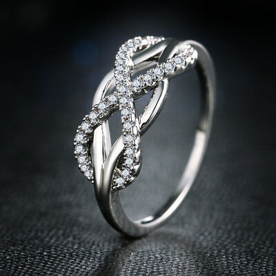 Charm Infinity 925 Silver Women's Wedding Rings White Sapphire Ring Size 6-10