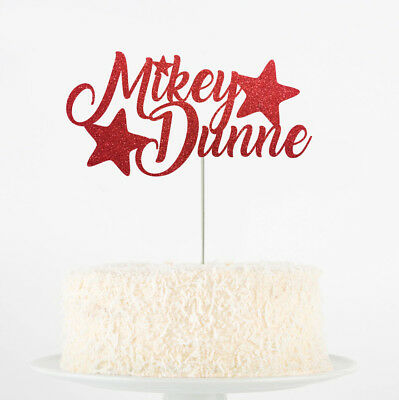 Custom Personalised Die Cut Glitter Your Own Text Party Cake Topper Name Shape