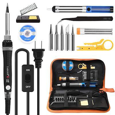 Tabiger Soldering Iron kit with Adjustable Temp 200-450°C and ON/OFF Switch,