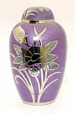 Adult Cremation Urn, Large Funeral Memorial Urn for Ashes , Purple & Gold Flower