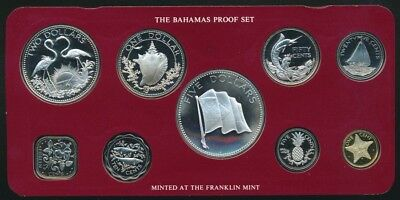Bahamas 1976 9 Coin Proof Set Includes 4 Silver coins & Certificate