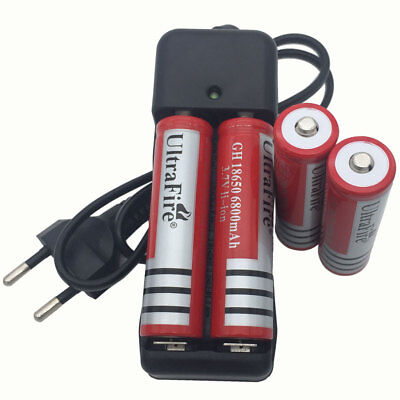 4X 18650 Battery 6800mAh 3.7V Li-ion Rechargeable Batteries & 4.2V Dual Charger