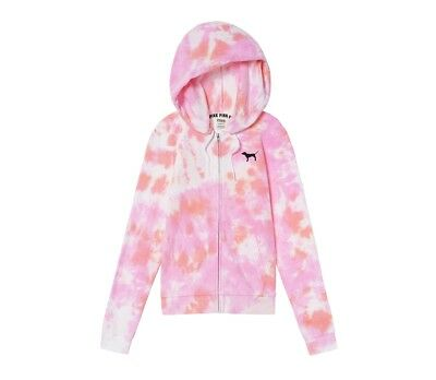 ae1e4323a5bd0 VICTORIA'S SECRET WOMENS Pink Tie Dye Perfect Full-Zip Hoodie Hoody Size M