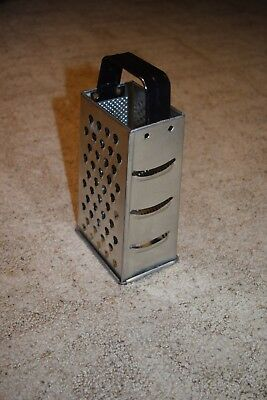 Box Hand Grater Cheese Metal Tin 4 Sided, black handle. approx. 9""