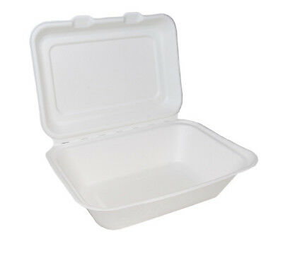 "250 White 7x5"" Paper Lunch Burger Box Container Biodegradable Bagasse Sugarcane"