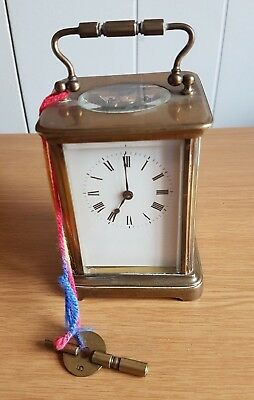 Antique Carriage Clock With Key Working