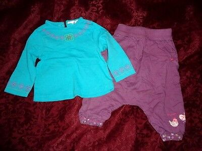 sarouel lilas + tunique turquoise,lilas longue manches  taille 9 mois
