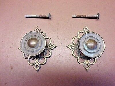 "Two Vtg Victorian Brass Drawer Pulls Knobs 1 1/4"" Diameter Complete Matched Pair"