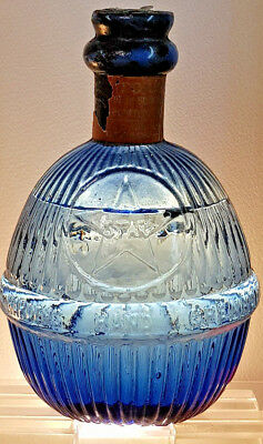Antique Early Rare ( Star ) Hand Grenade Fire Extingisher Blue Glass Old Bottle