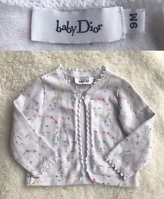 Baby Dior Girls Cardigan Jacket Cotton Floral Print Top  6 - 9 Months | DIOR