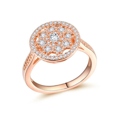 Elegant Rose Gold Filled Women's Wedding Rings Round Cut White Sapphire Size6-10
