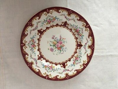 """Myott Staffordshire Sevres Red Floral Dinner Plate 10 1/2"""" - signed A Robert"""