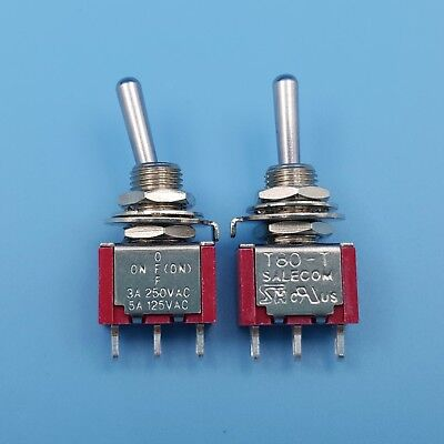 2Pcs SH T8014B 3Pin One Way Momentary ON-OFF-MOM SPDT Mini Toggle Switch