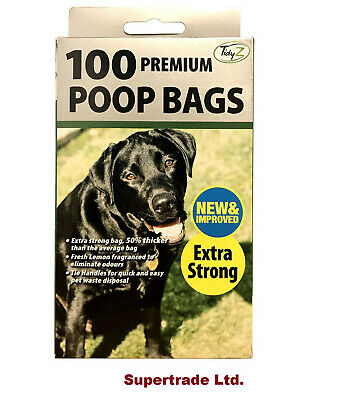 100 Fragranced Dog Poo Bags Scented Doggy Bags Strong Large Tie Handles