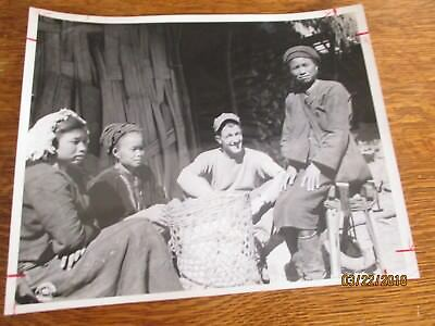 WWII USA Army with Native Woman and Children Basket Military  Burma 8x10 Photo