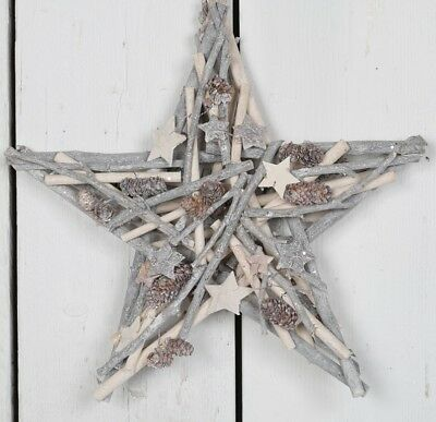 Whitewashed Wooden Star Wreath Decoration Rustic Shabby